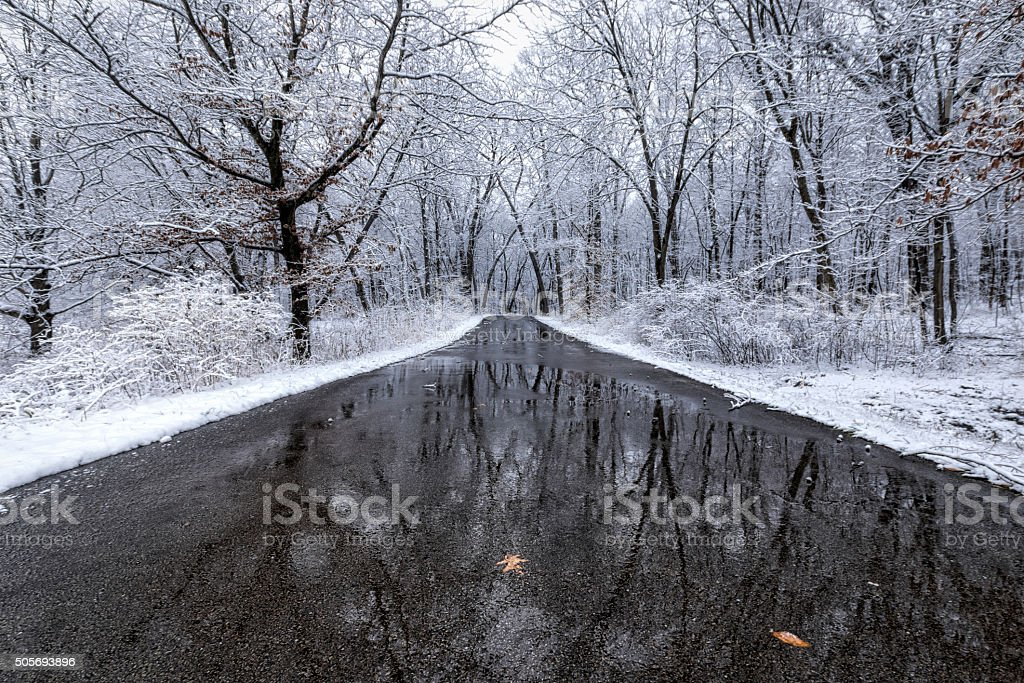 Winter Road Reflection stock photo