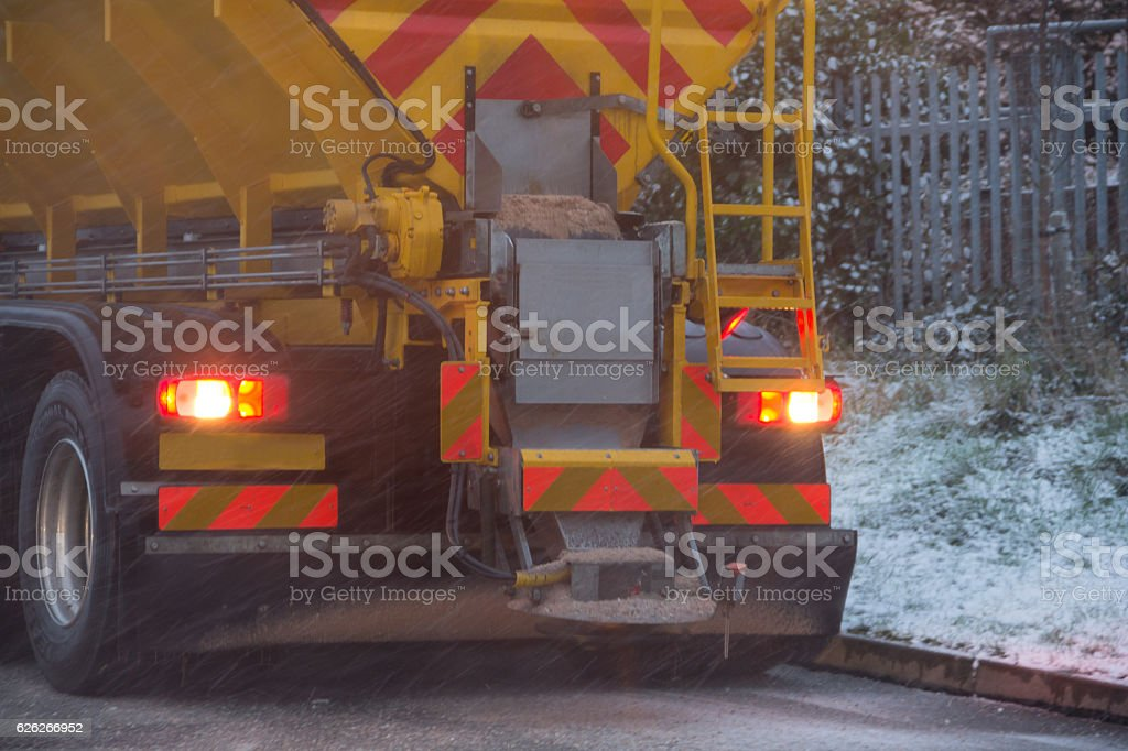 Winter road safety stock photo