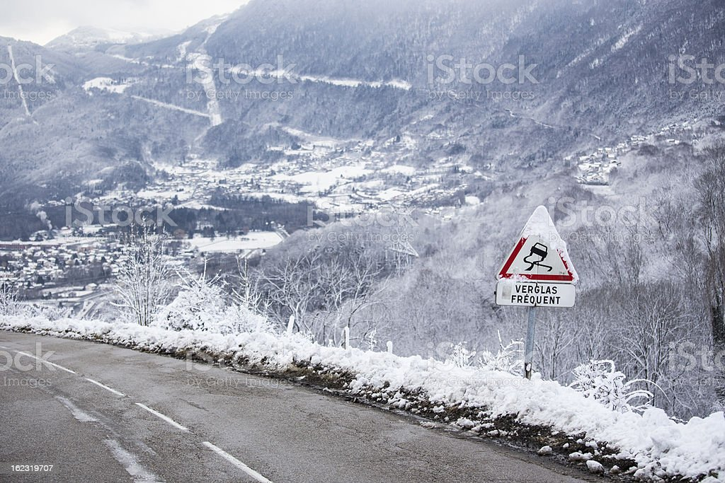 Winter road sign stock photo