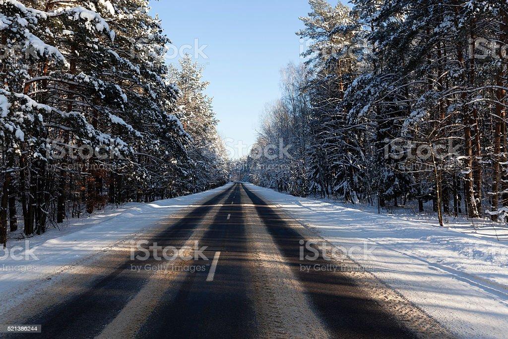 winter road ,  snow stock photo