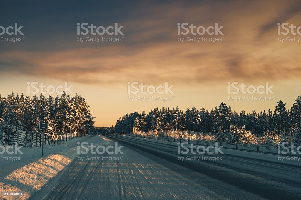 Winter road through sweden stock photo