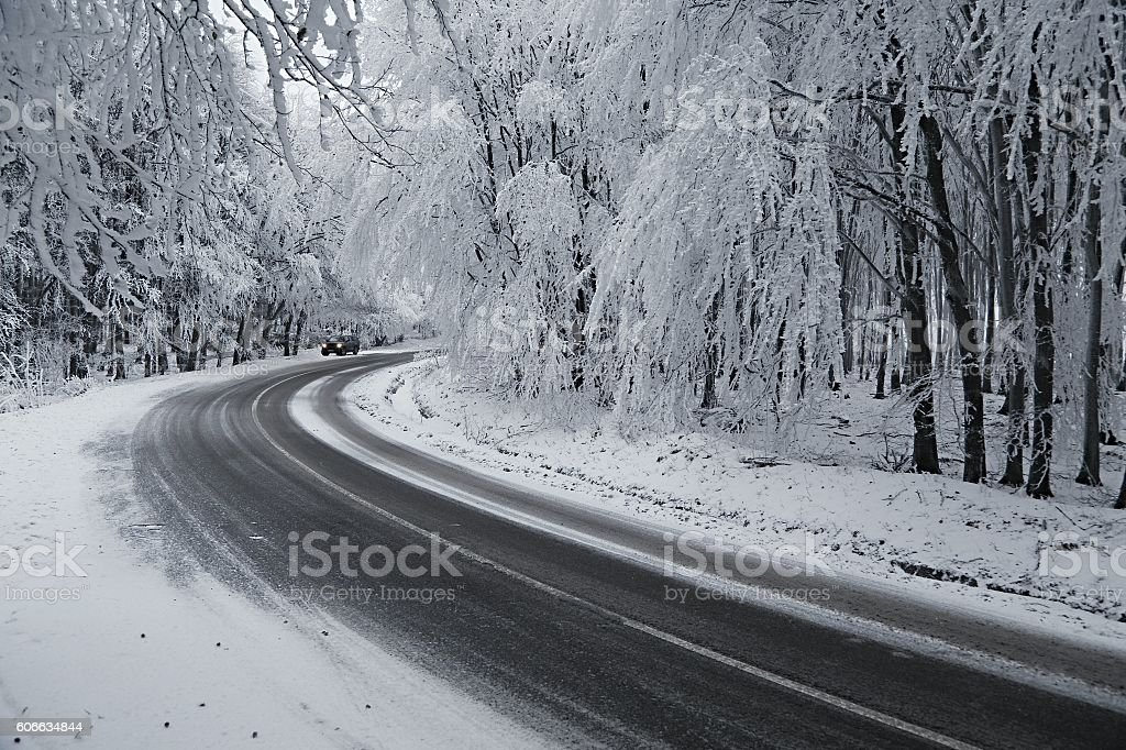 Winter Road Turns stock photo