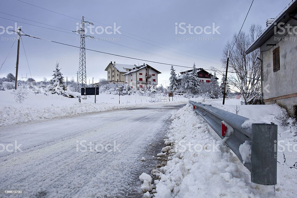 Winter road with snow stock photo
