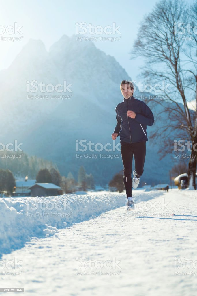 Winter Running in Garmisch-Partenkirchen, Germany stock photo