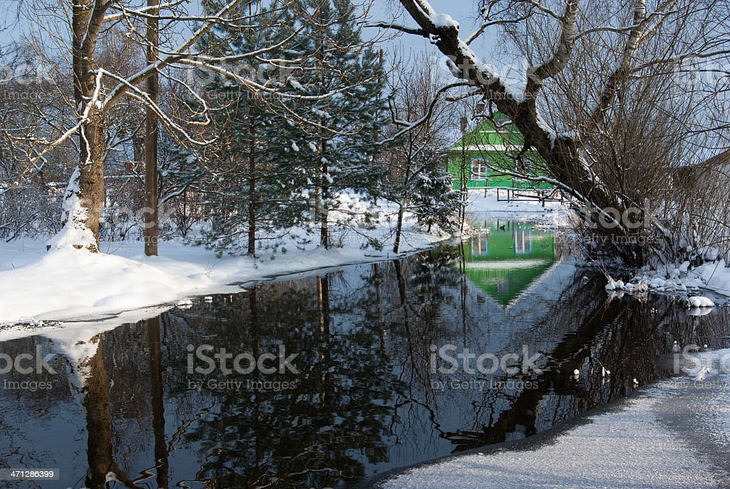 Winter rural landscape stock photo