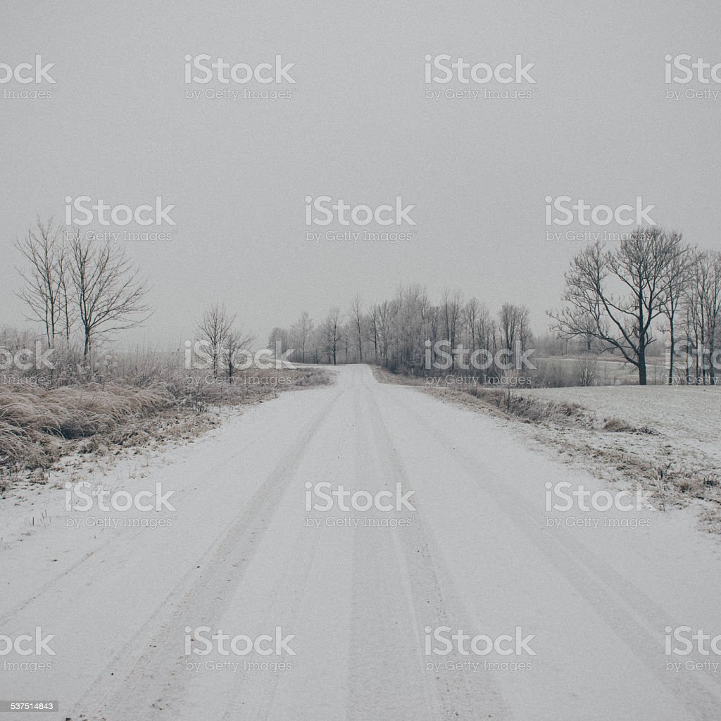 winter rural scene with fog and white fields- vintage effect stock photo