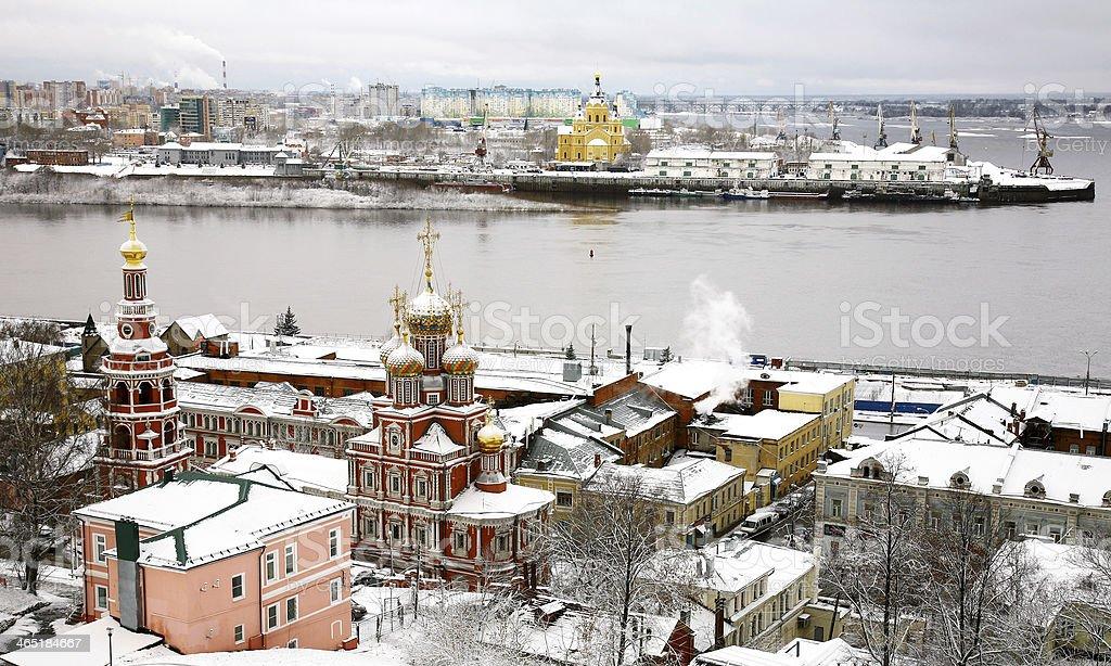 Winter russian ancient city Nizhny Novgorod Russia royalty-free stock photo