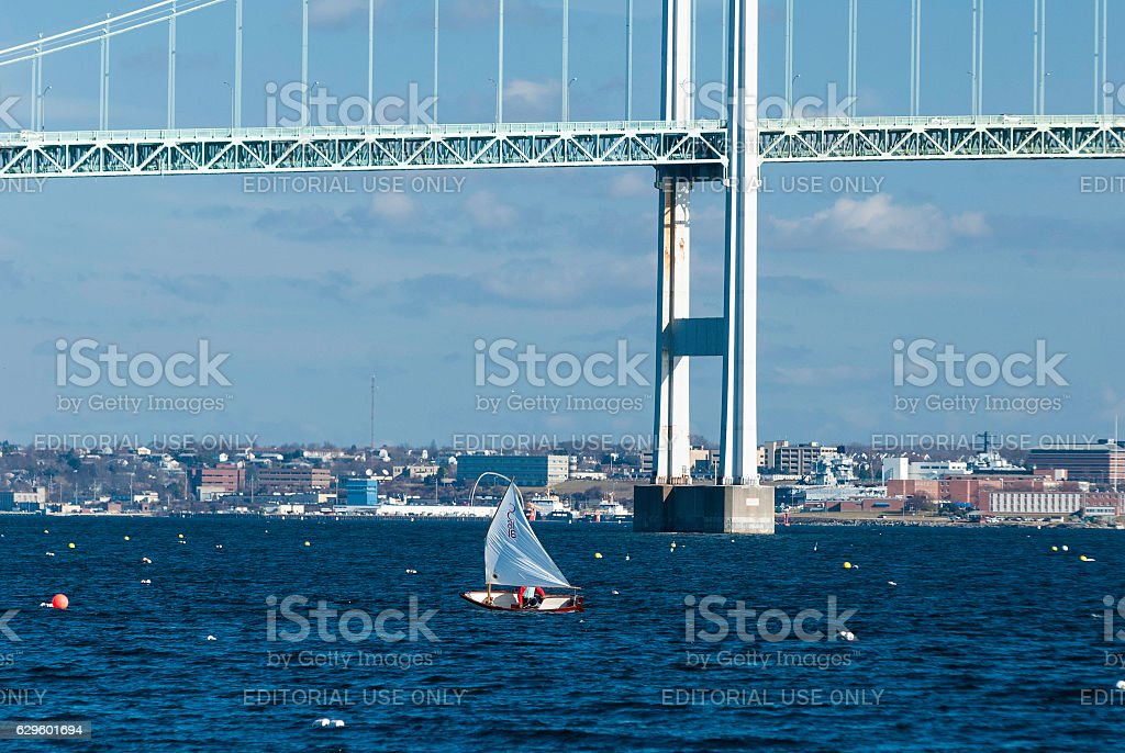Winter sailing Narragansett Bay stock photo