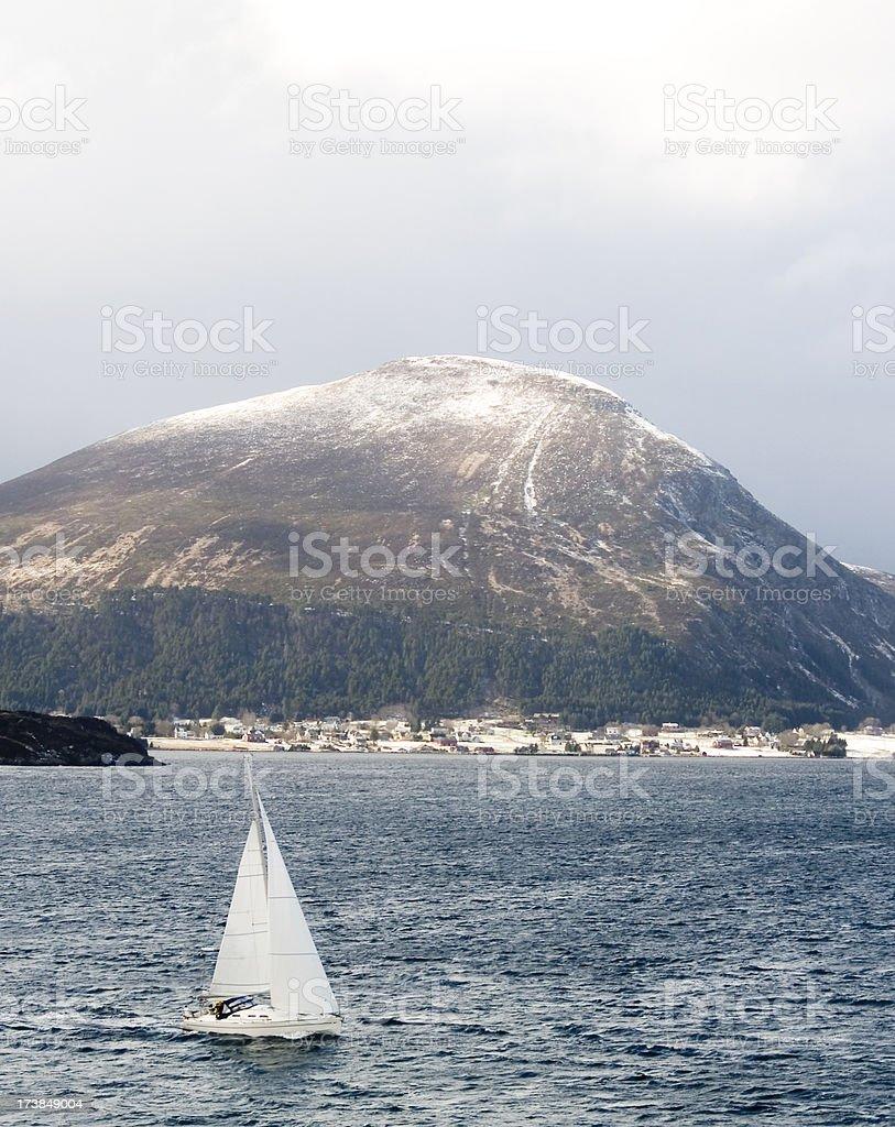Winter sailing on Norway's west coast stock photo