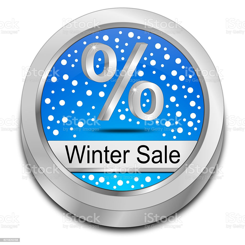 Winter Sale Button - 3D illustration stock photo