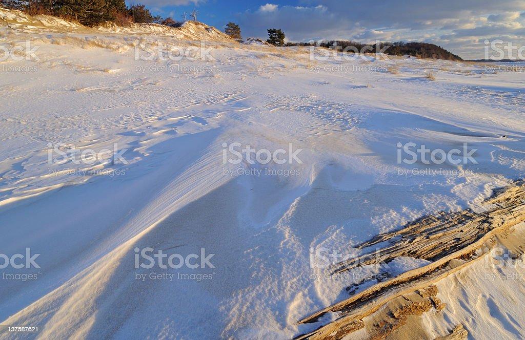 Winter Saugatuck Dunes stock photo