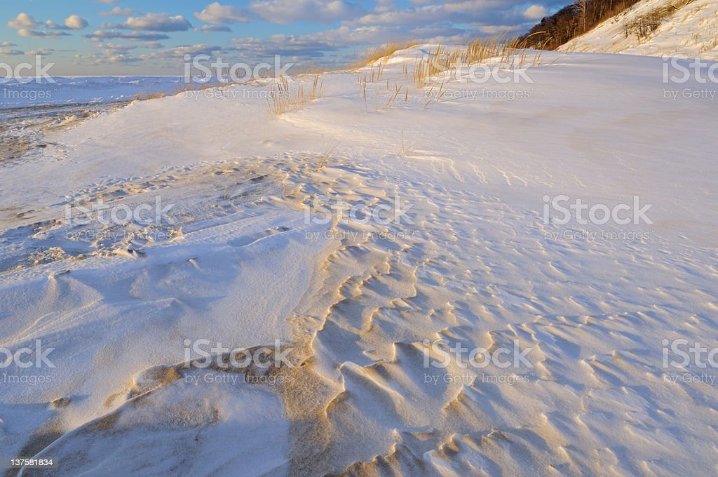 Winter Saugautuck Dunes stock photo