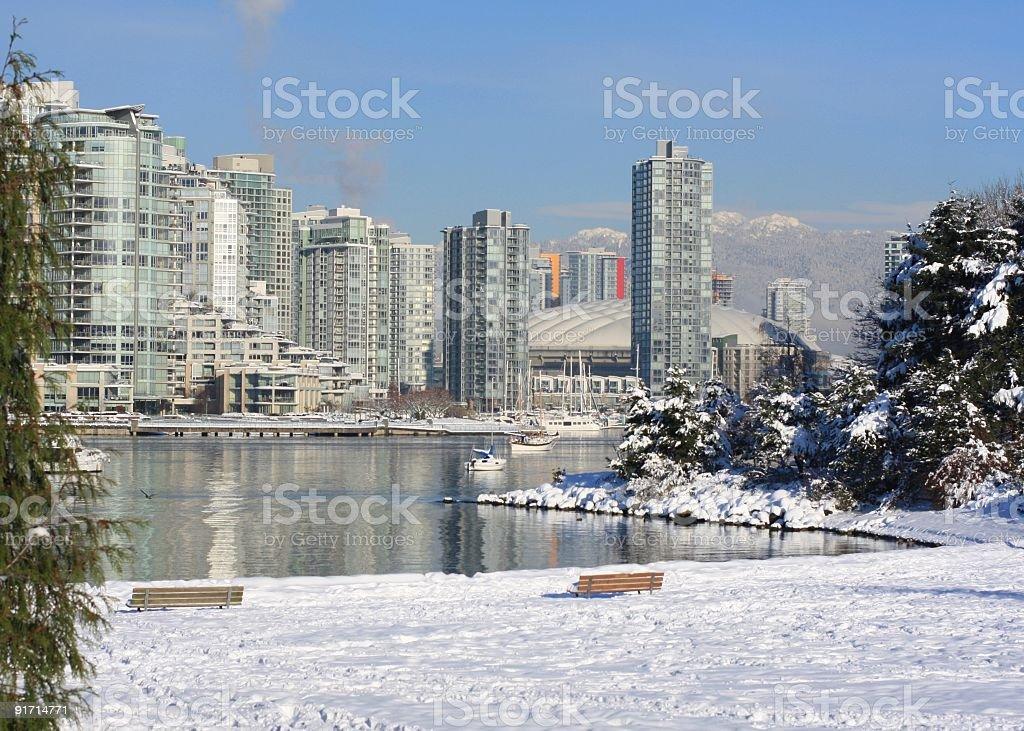 Winter Scene at False Creek, Vancouver, British Columbia, Canada stock photo