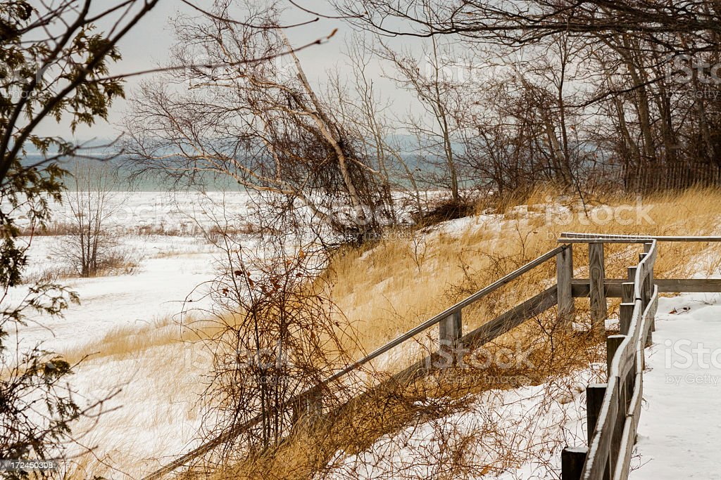 Winter Scene at Leelanau Peninsula stock photo