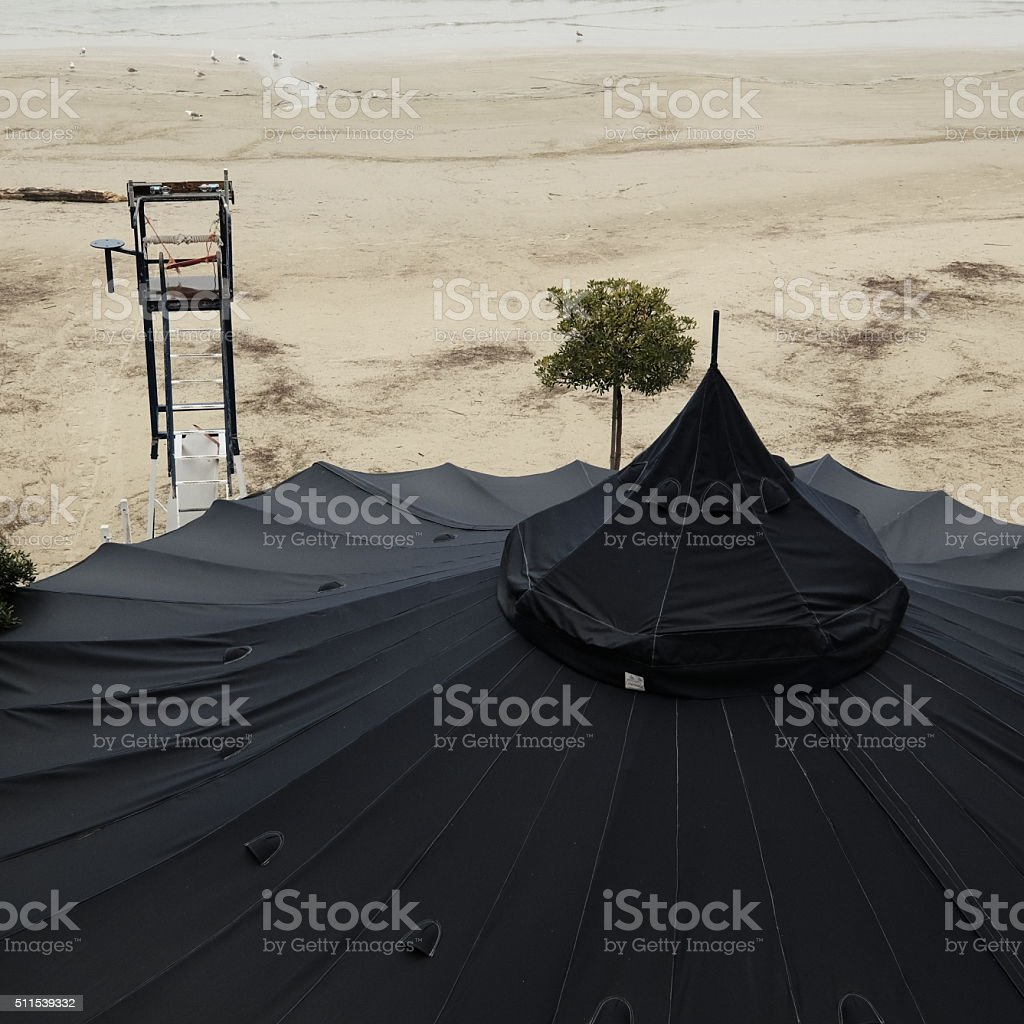 Winter scene at the sea with abandoned beach stock photo