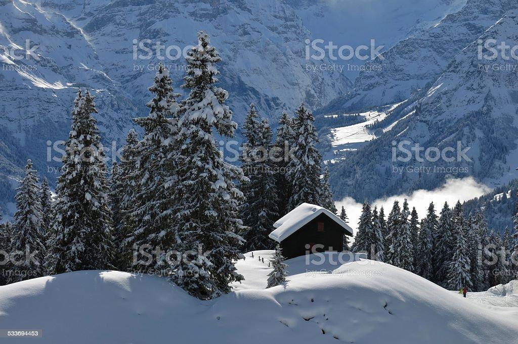 Winter scene in Braunwald stock photo