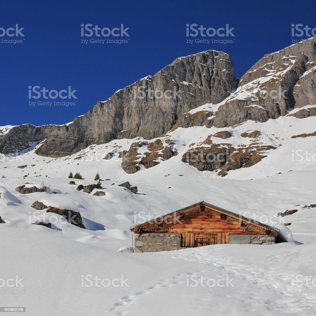 Winter scene in Braunwald, Swiss Alps stock photo