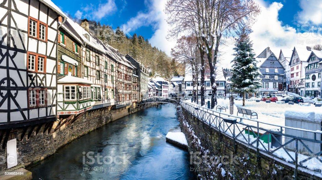 Winter scene in Monschau - Germany stock photo