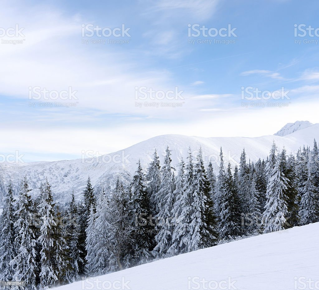 winter scene in mountains royalty-free stock photo
