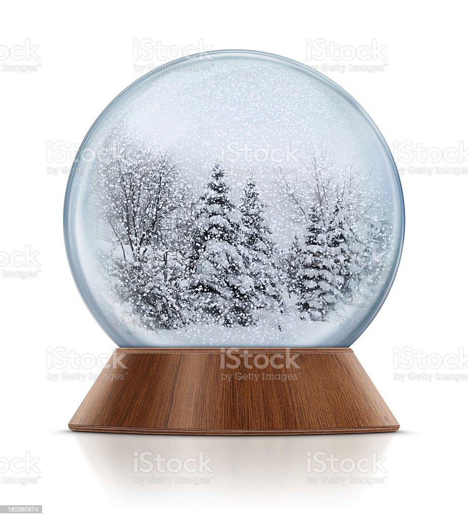 Winter Scene in Snow Globe stock photo