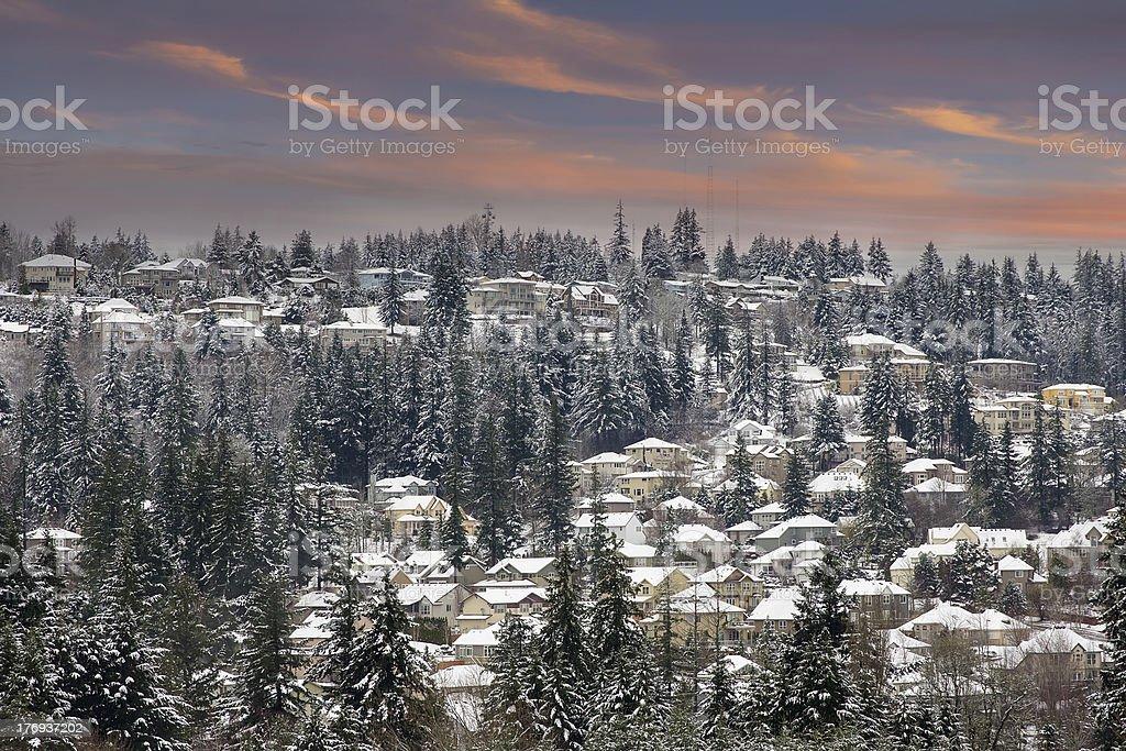 Winter Scene in Suburbs Neighborhhood at Sunset royalty-free stock photo
