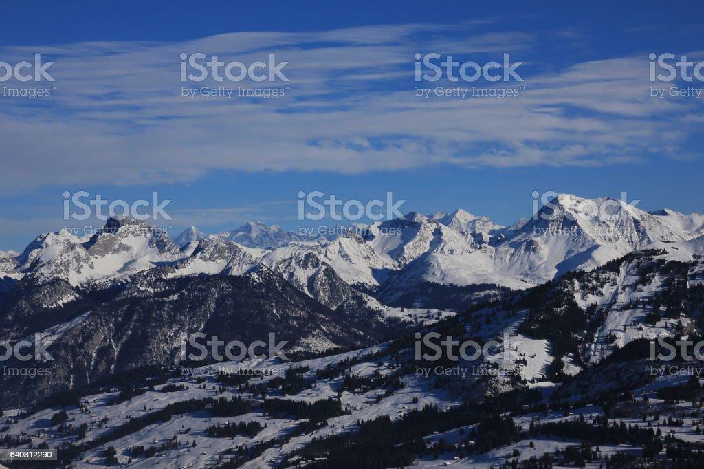 Winter scene in the Bernese Oberland stock photo