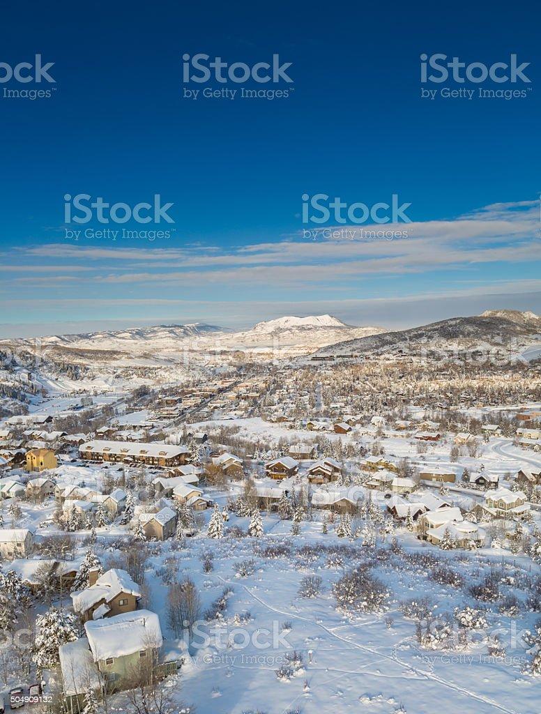 Winter scene landscape stock photo