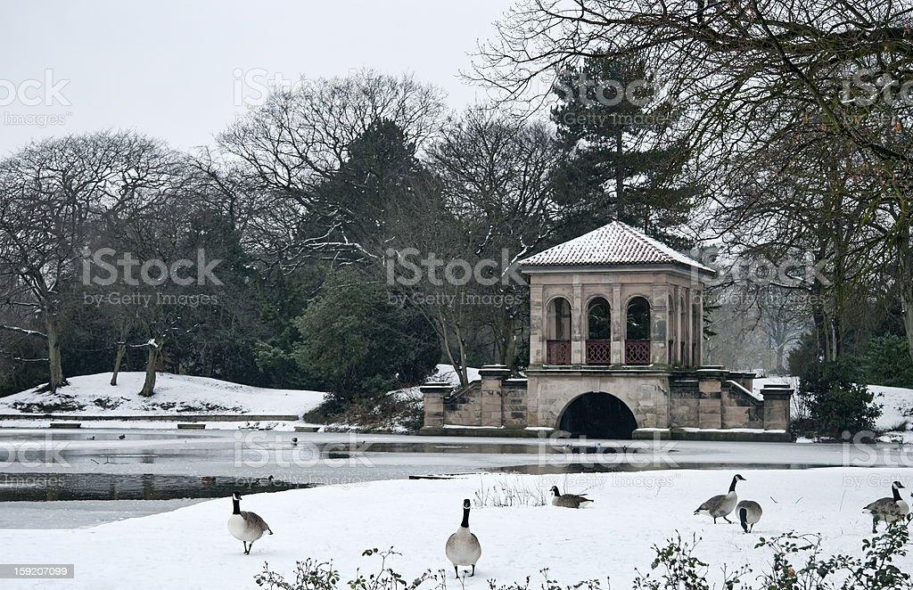 Winter scene of Park boathouse royalty-free stock photo
