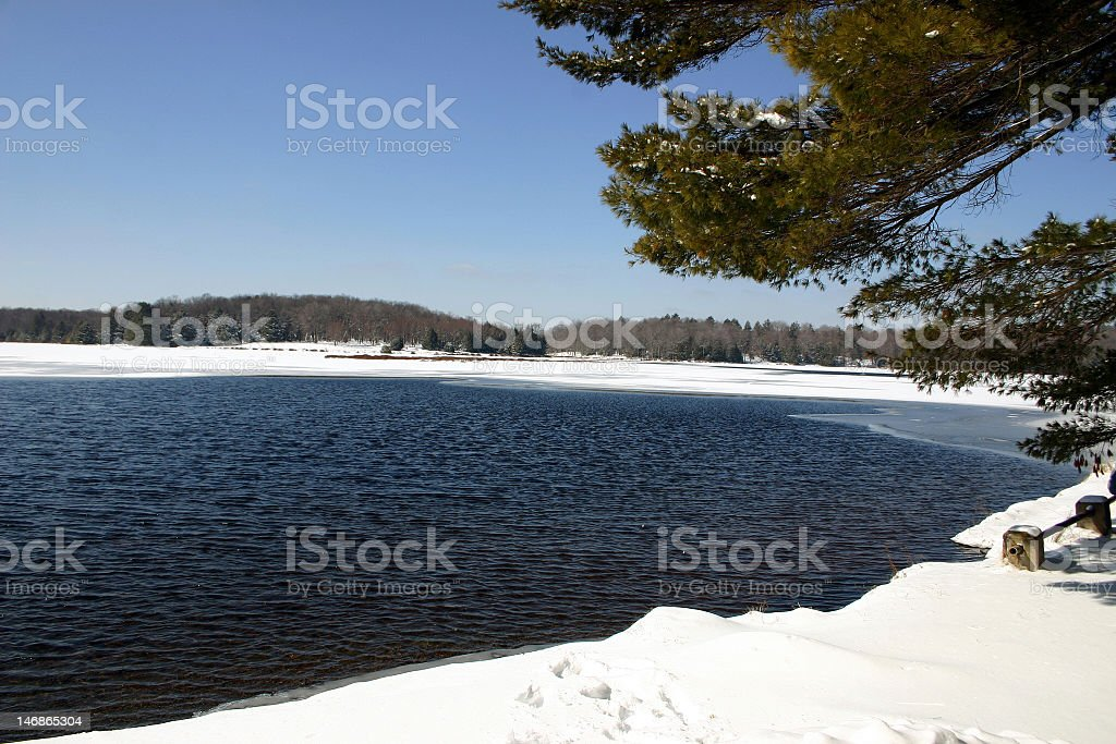 Winter Scene – Promised Land State Park, PA stock photo