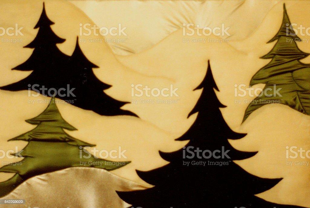 Winter scene, winterime, snow, trees, forest, background,trapunto, textiles, relief stock photo