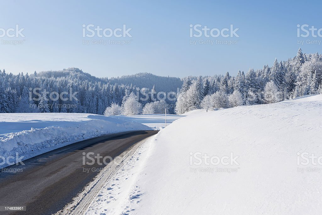 Winter Scene with Road and FrostyTrees Primorska Slovenia stock photo