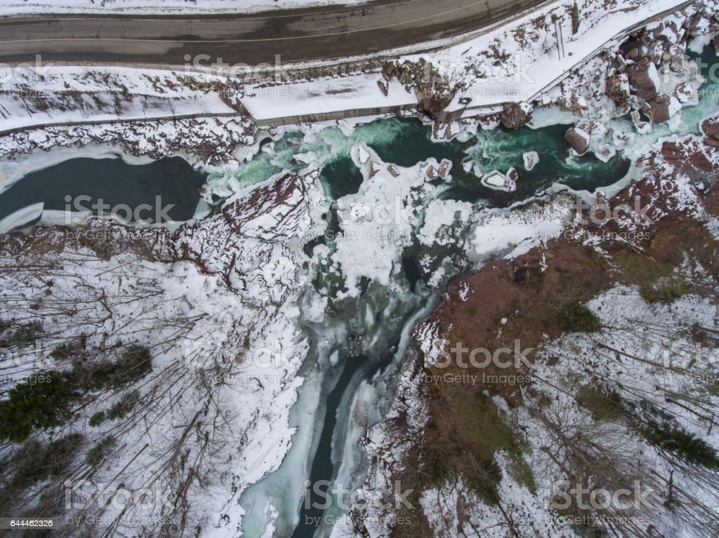Winter scenery. Aerial view of the confluence of two rivers stock photo
