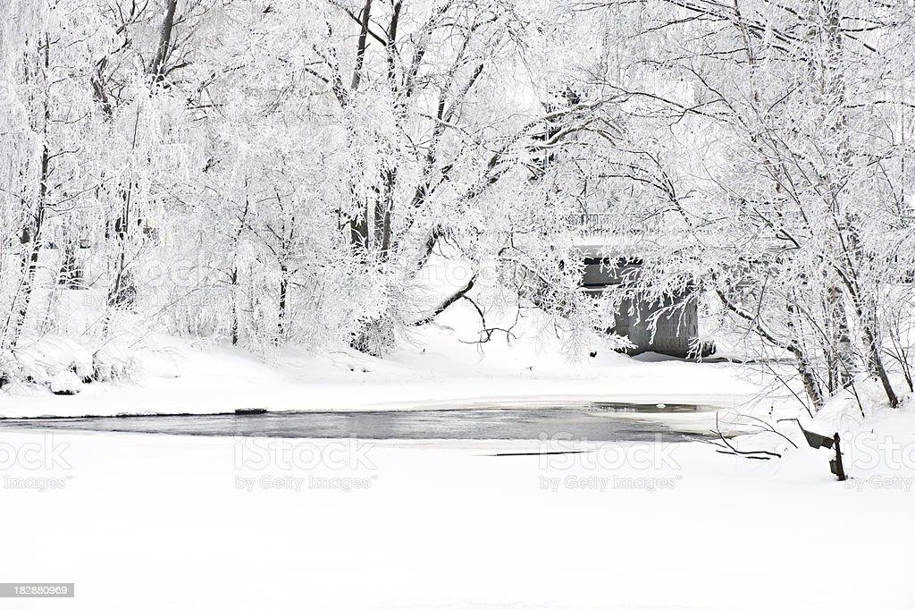 Winter scenery along riverbank royalty-free stock photo