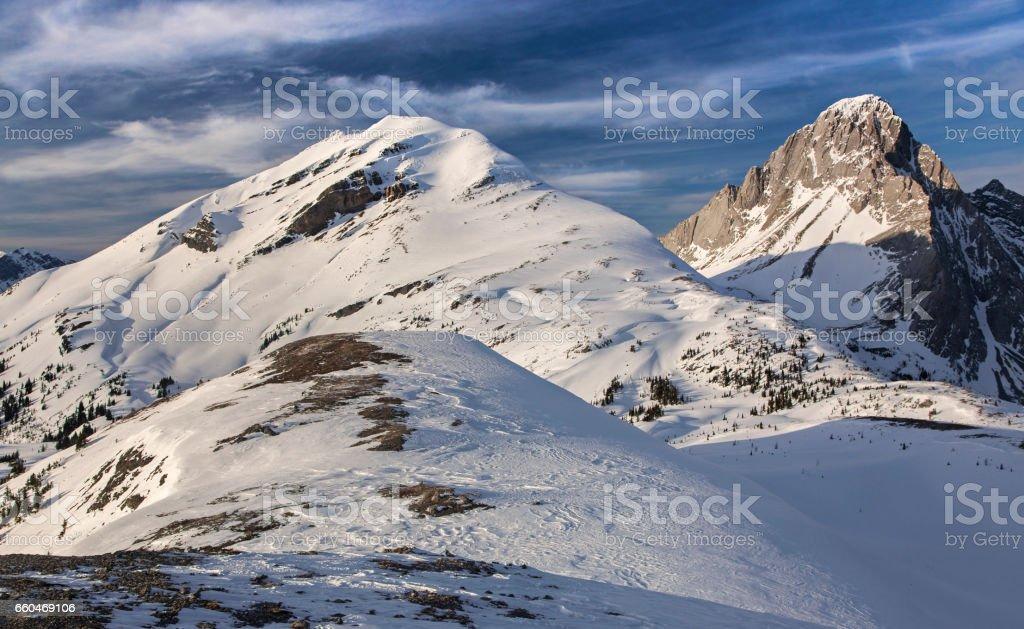 Winter Scenery Burstall Pass Kananaskis Rocky Mountains stock photo
