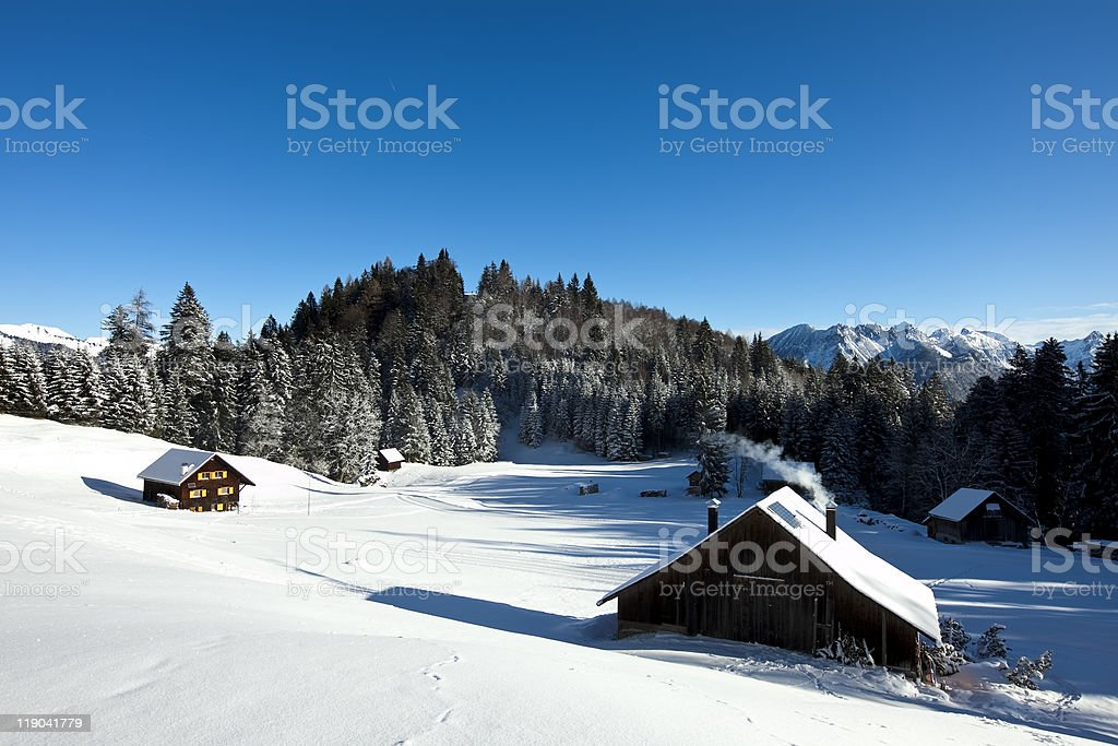 winter scenery with log cabin royalty-free stock photo