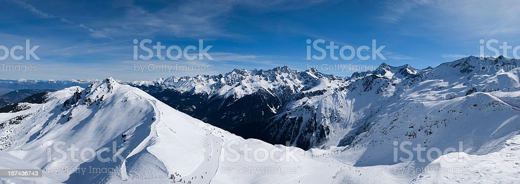 Winter Scenic Panorama with High Mountains (XXXL) royalty-free stock photo