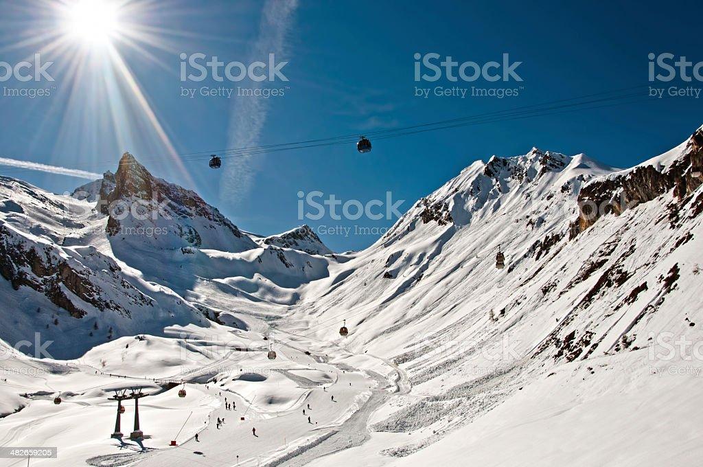 Winter scenic snowy mountains wallpaper stock photo