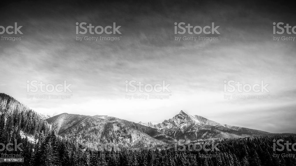 winter scenic view of mountains, Krivan, Slovakia, Eastern Europ stock photo
