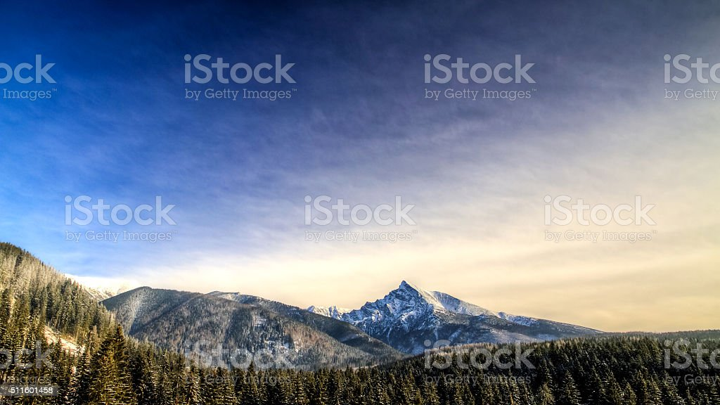 winter scenic view of mountains, Krivan, Slovakia, Eastern Europe stock photo