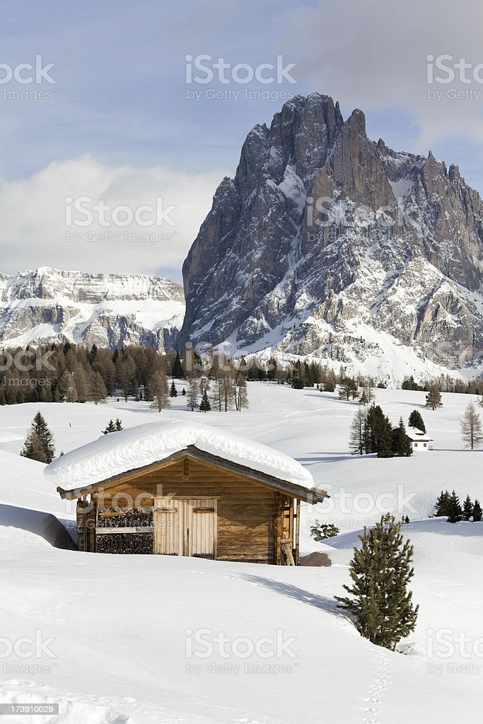 Winter scenics with Langkofel mountain in Dolomites, Italy (XXXL) royalty-free stock photo