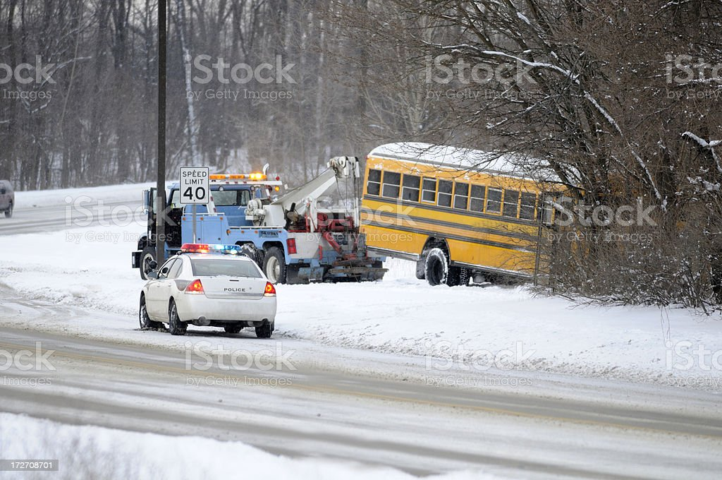 Winter School bus accident. royalty-free stock photo