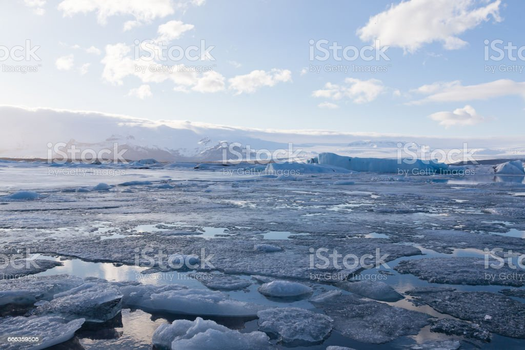Winter season lake, Jakulsalon lagoon Iceland stock photo