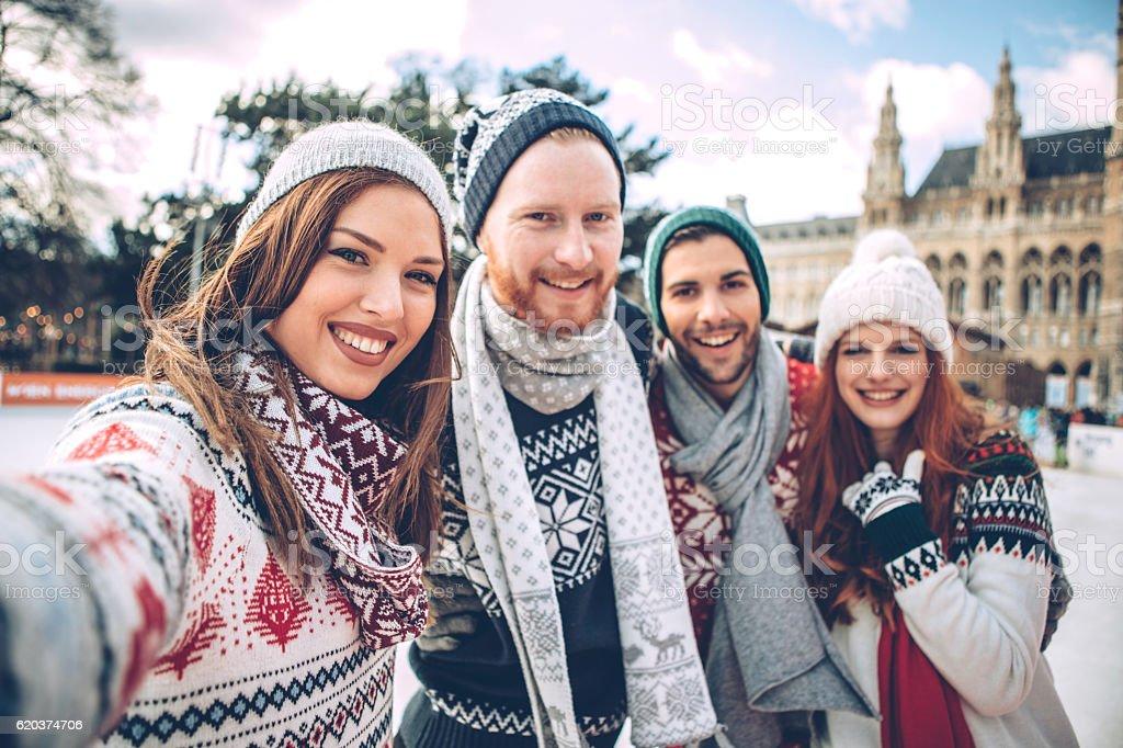 Winter selfie stock photo