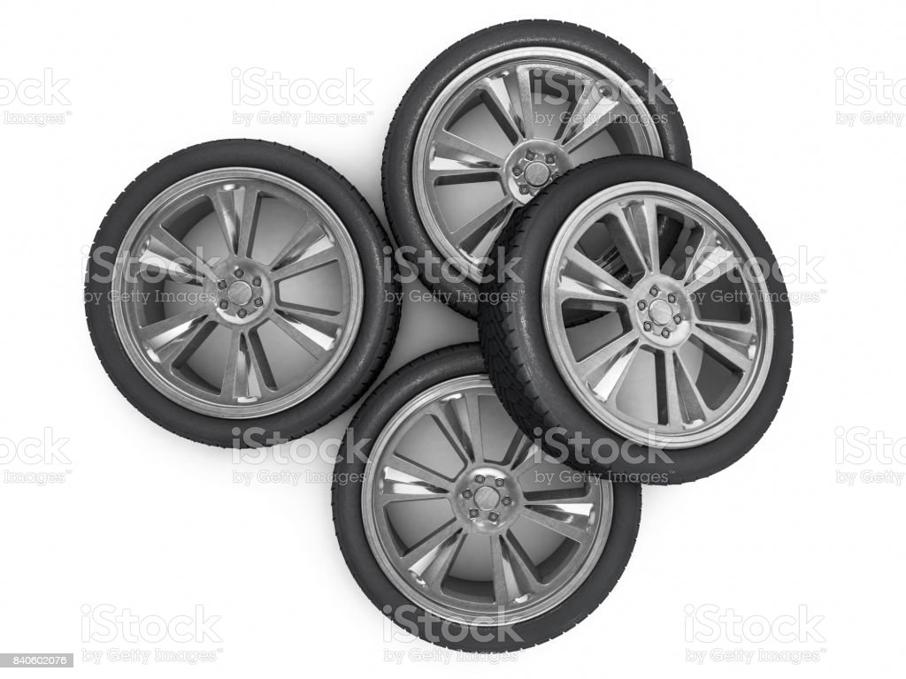 Winter set tires with hard protector. 3D rendering stock photo