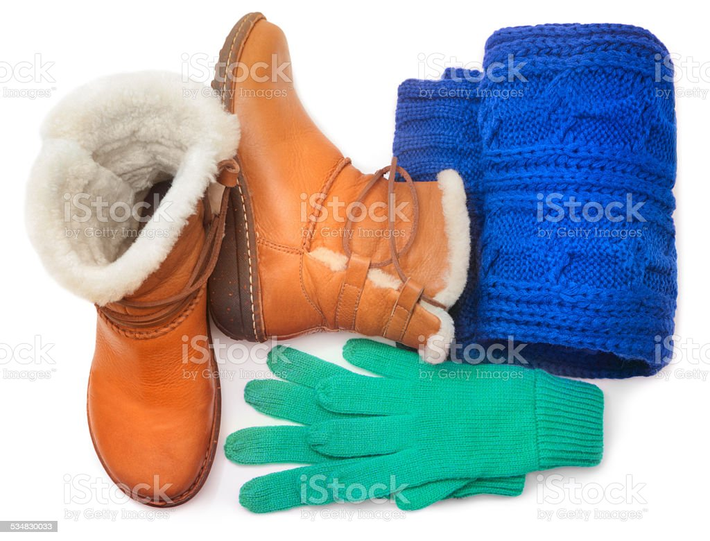 Winter shoes and accessories stock photo