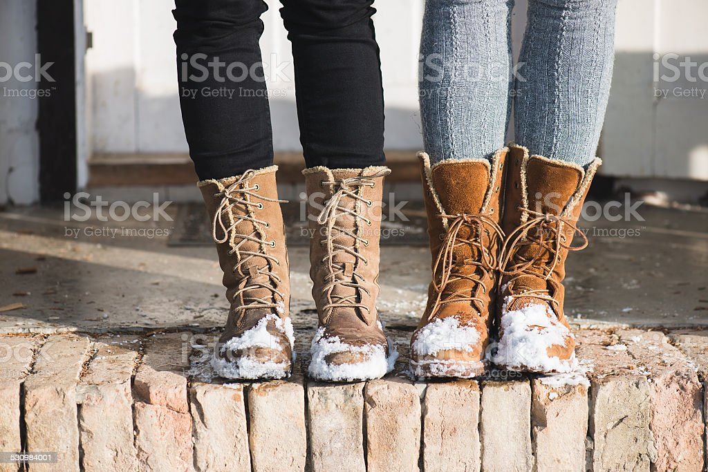 winter shoes stock photo