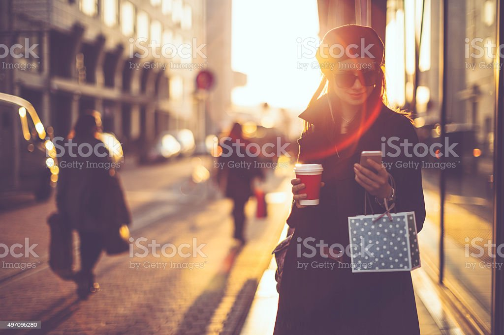 Winter shopping season stock photo