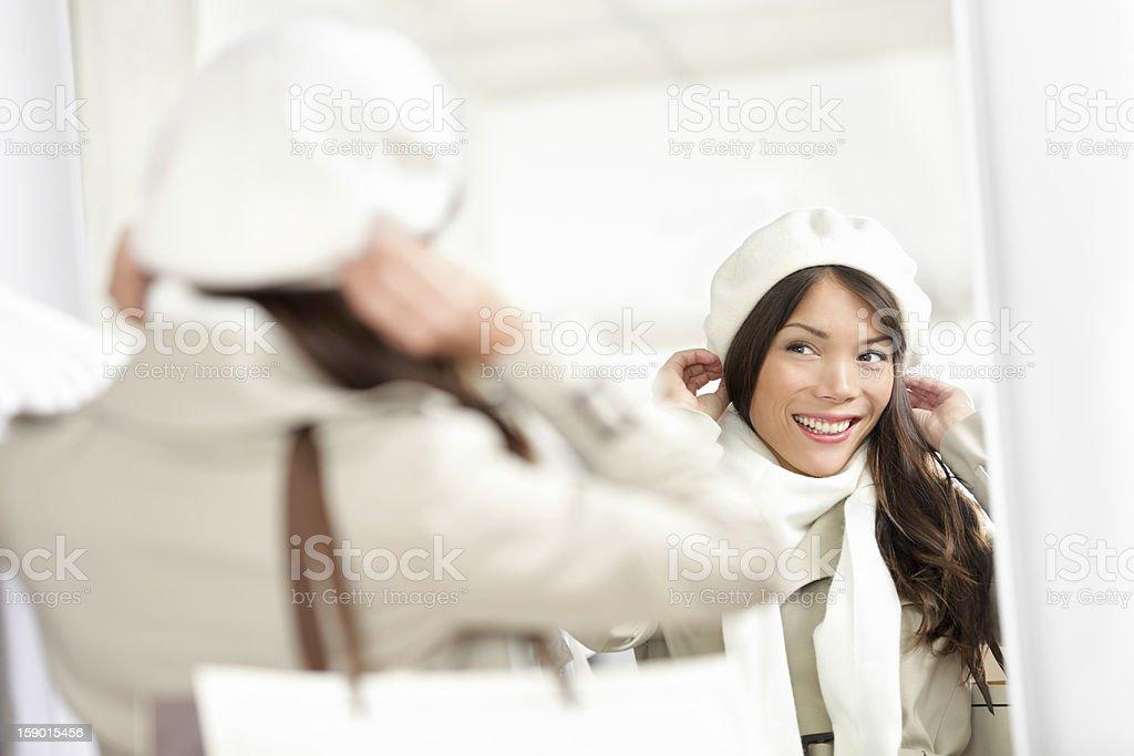 Winter shopping woman royalty-free stock photo
