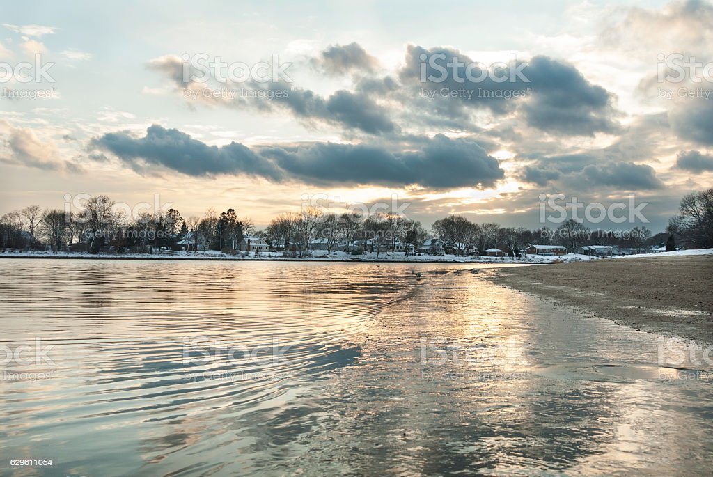 Winter shoreline Warwick stock photo