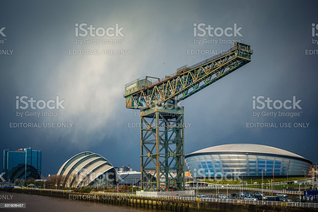 Winter Shower onThe River Clyde, Glasgow stock photo